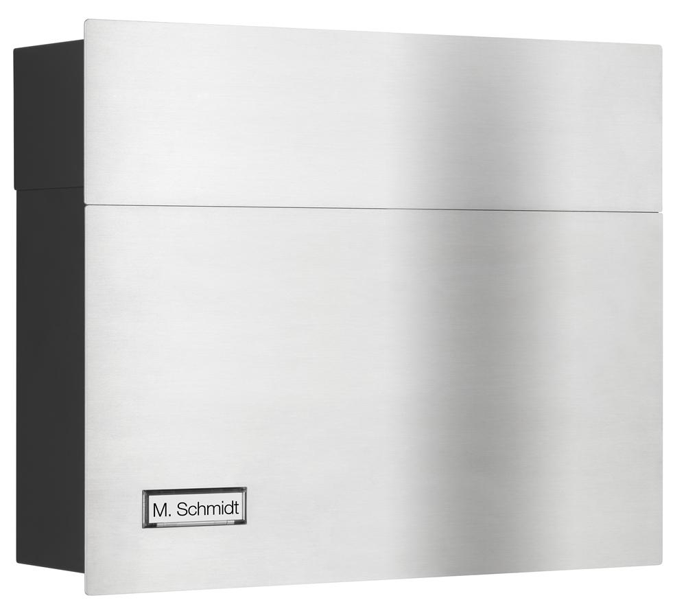 LCD Briefkasten mit Namensschild Edelstahl/schwarz 3021