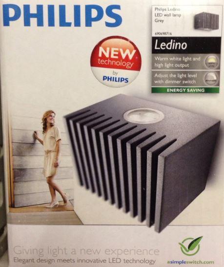 Philips Philips Ledino LED-Wandleuchte grau 69069/87/16 69069/87/16