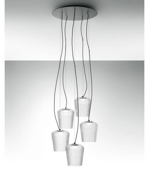 5er-LED-Pendelleuchte PLISSE