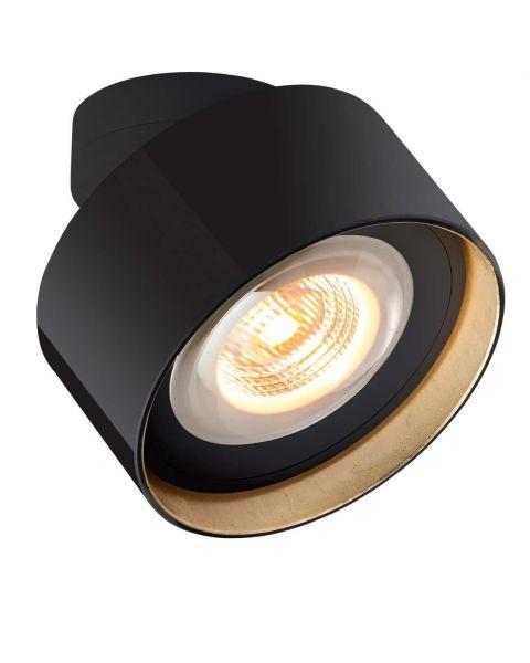 LED-Spot LUXX GLAS schwarz/Blattgold (dim-to-warm)