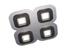 LED-Deckenleuchte AP 48x48cm Alu/schwarz