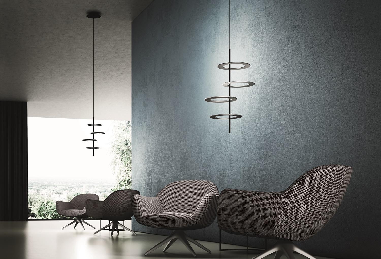 Icone Minitallux 4er-LED-Pendelleuchte HULA HOOP Schwarz/Alu 2700K HulaHoopS4-NE+AS-27K